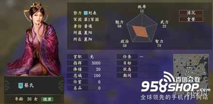 《三国志14》蔡氏五维属性介绍 蔡氏个性战法一览